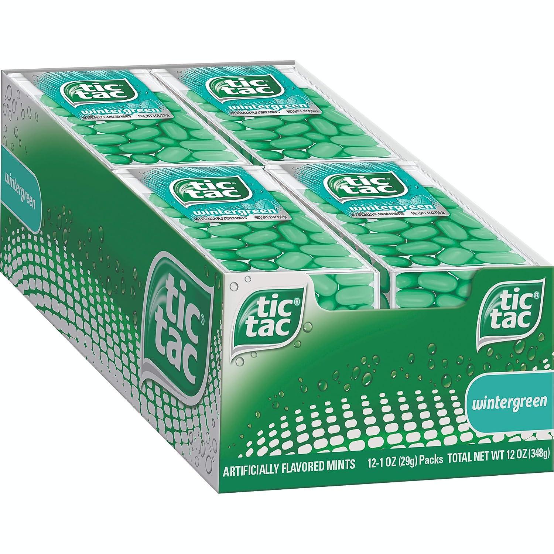 Tic Tac Fresh Breath Mints, Wintergreen, Bulk Hard Candy Mints, 1 oz Singles, 12 Count