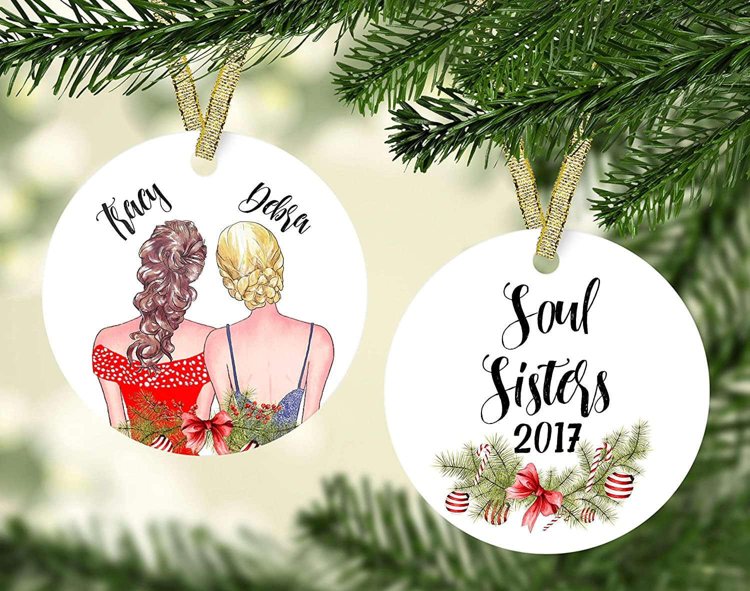 amazon com fhdang decor christmas ornament for friends best friend ornament personalized ornament bff gift personalized friend ornament soul sisters besties 3 inches home kitchen fhdang decor christmas ornament