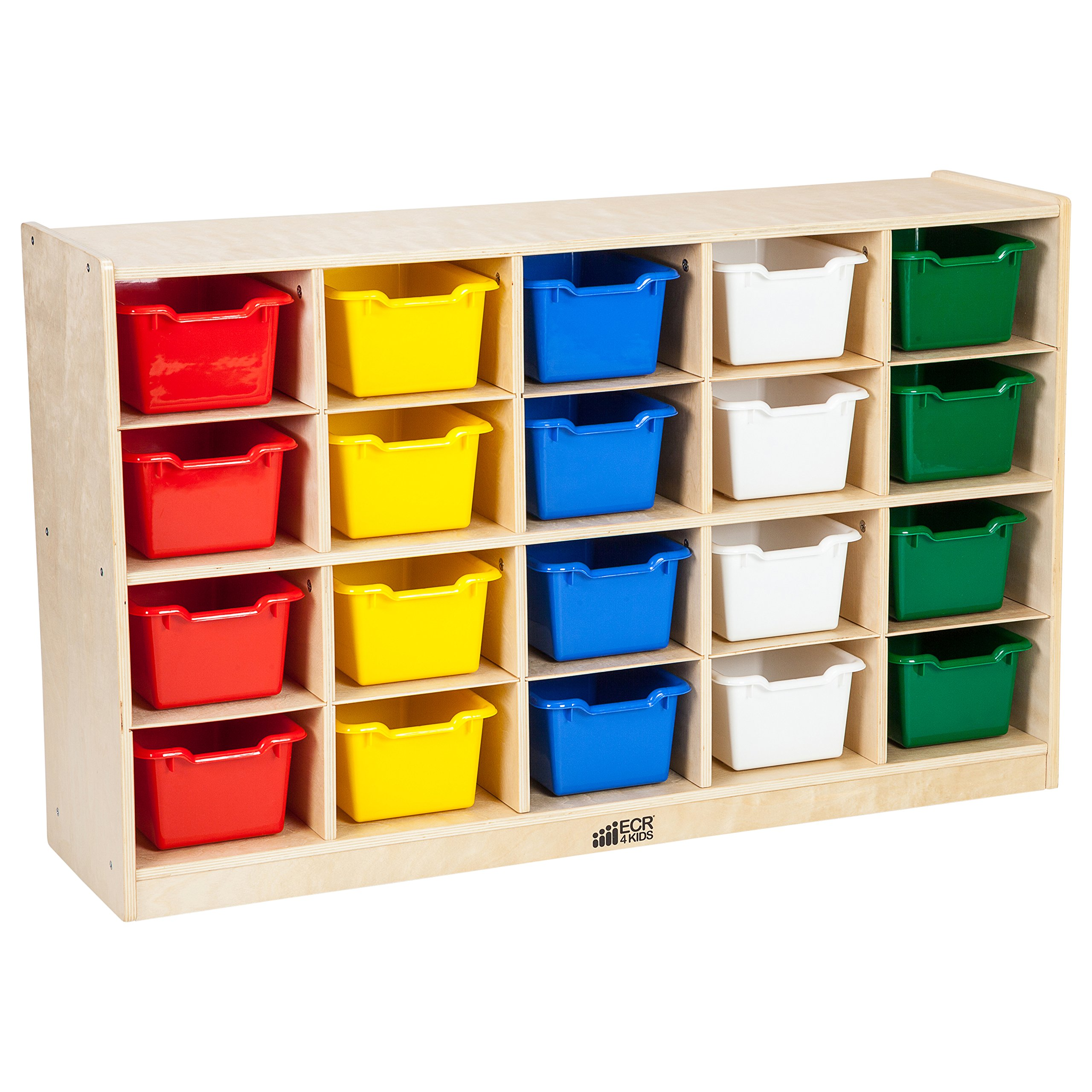 ECR4Kids Birch 20 Cubbie Tray Cabinet with Scoop Front Bins, Assorted Colors by ECR4Kids