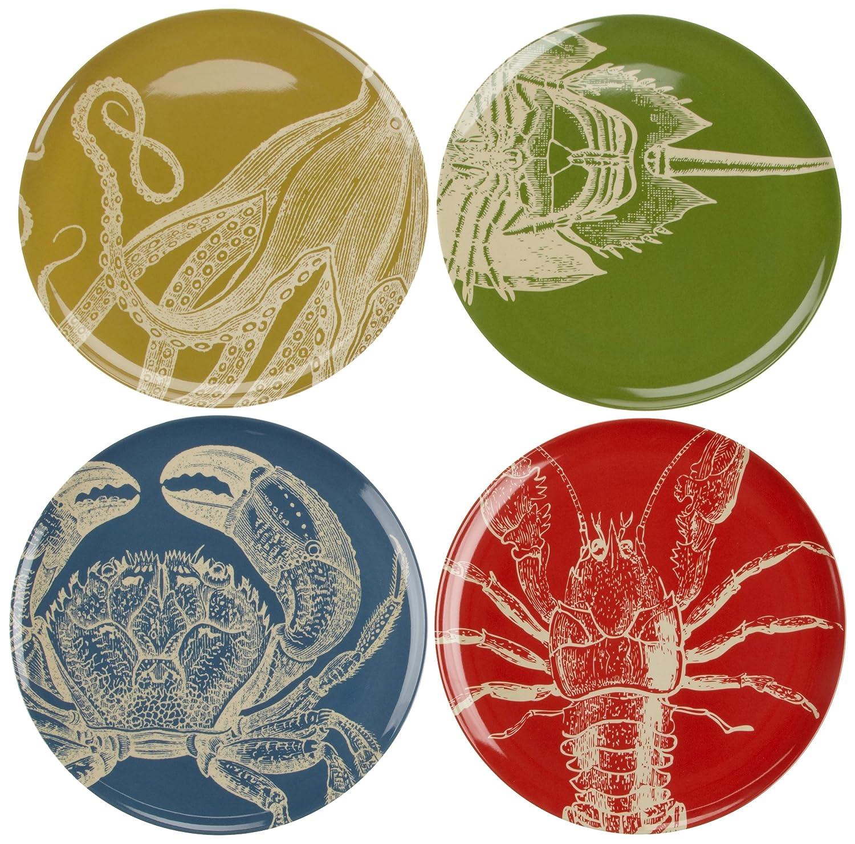 amazoncom  thomas paul sea life inch dinner plates set of   - amazoncom  thomas paul sea life inch dinner plates set of  melaminedinnerware thomas paul set dinner plates