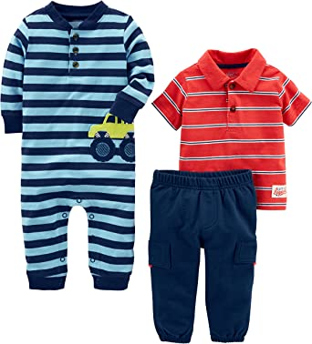 Baby Carters Baby Boys 4 Piece Striped Cotton Set