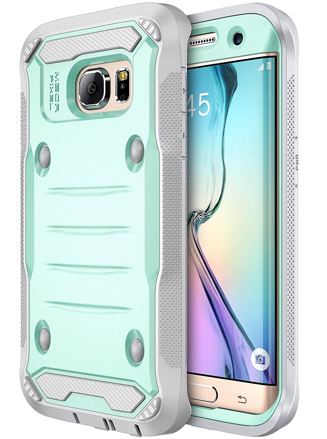 E LV Case for Galaxy S7 Edge Case Hybrid Armor Protection Defender (Without Built-in Screen Protector) Case for Samsung Galaxy S7 Edge - [Mint/Grey]