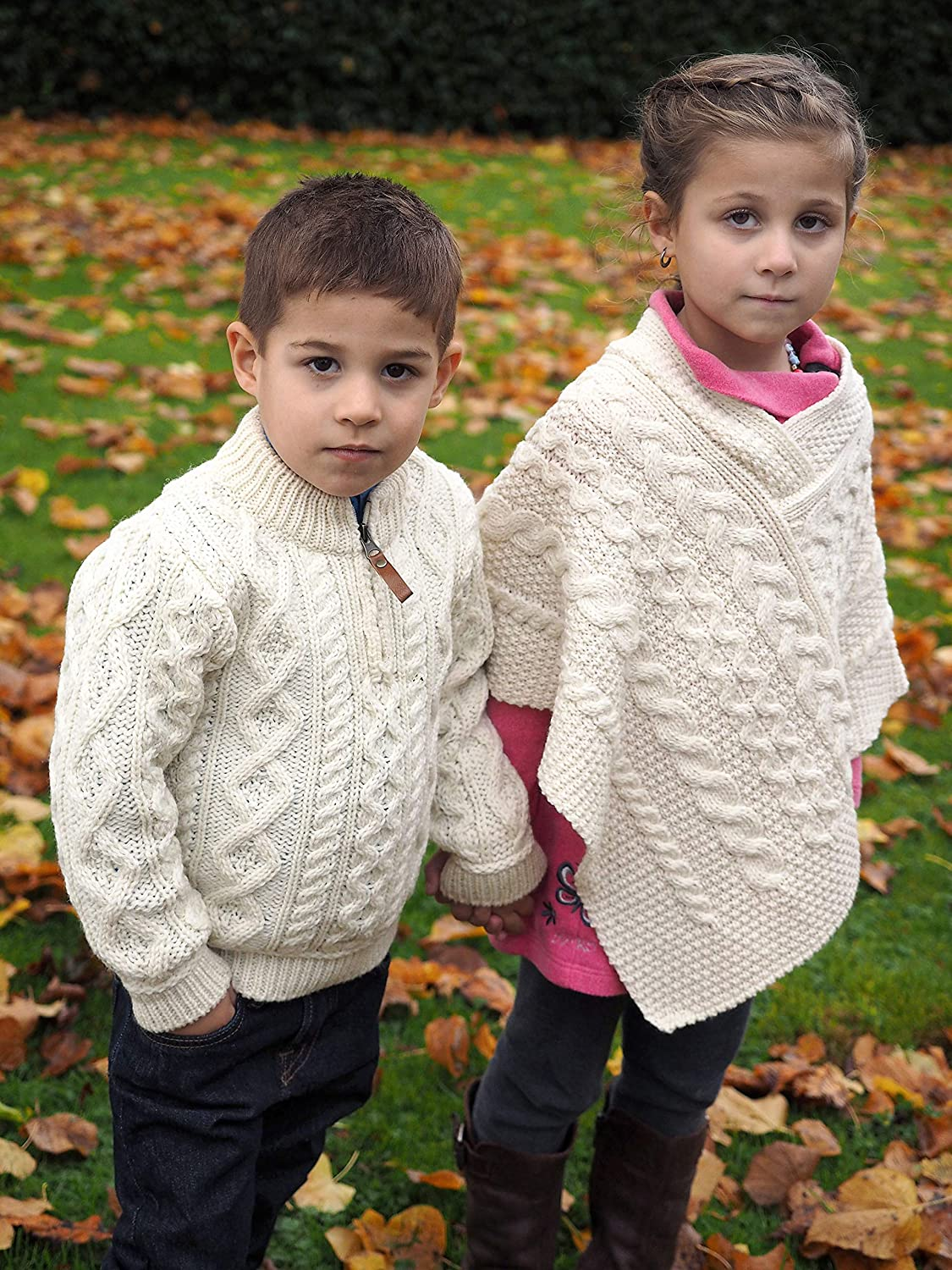 100/% Merino Wool Aran Crafts Kids Poncho