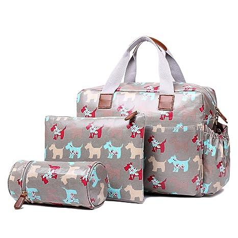 Miss Lulu 4 piezas Mate mantel de hule, diseño de perro bebé pañal bolsa de