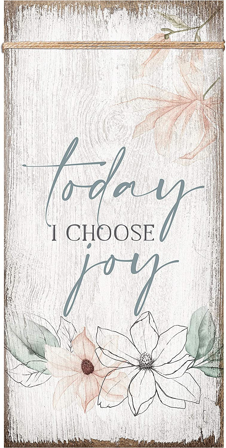 Today I Choose Joy Wood Plaque Inspiring Quote 6 3/4 in x 13 5/8 in - Classy Vertical Frame Wall Hanging Decoration | Christian Family Religious Home Decor Saying