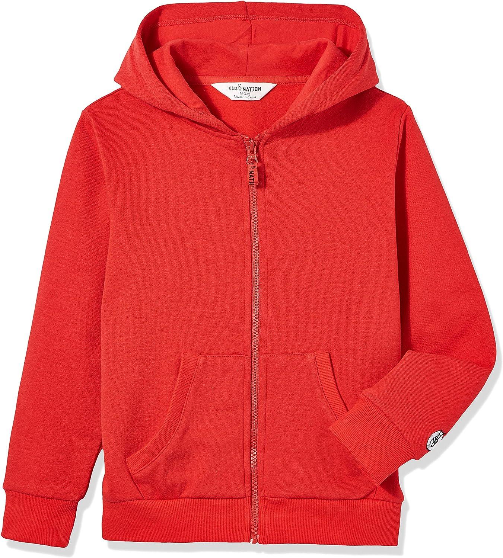 Kid Nation Kids Soft Brushed Fleece Zip-Up Hooded Sweatshirt Hoodie for Boys or Girls 4-12 Years: Clothing