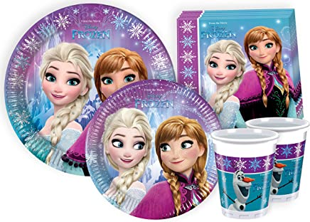 Ciao Y2499 Disney Frozen Party Tableware for 24 People (112 Pieces: 24 Large Plates / 24 Medium Plates / 24 Glasses / 40 Napkins)