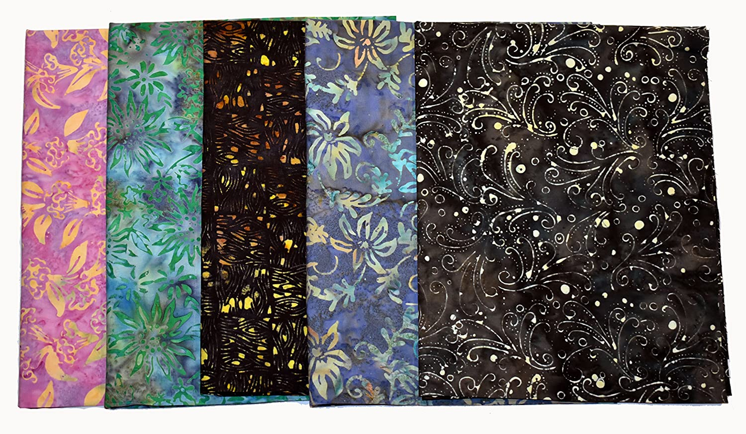 2.5 Yards Total Bali Batiks Premium Batik Half Yard Cuts Pack of 5