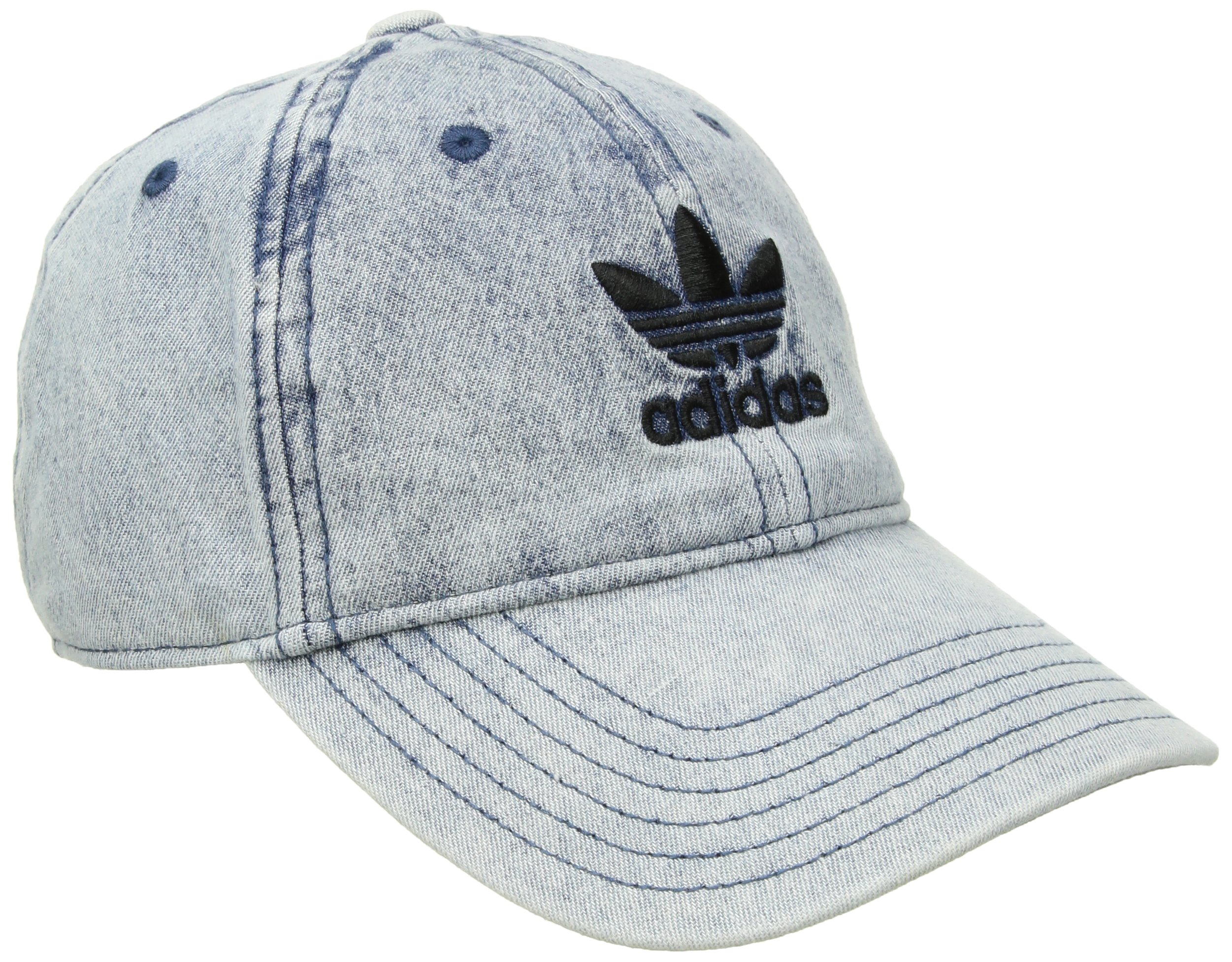adidas Women's Originals Relaxed Fit Strapback Cap, Washed Blue Denim, One Size