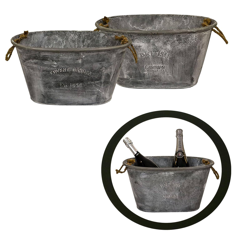 east2eden British Grown Covent Garden Large Oval Galvanised Zinc Metal Tin Plant Flower Planter Pot Box