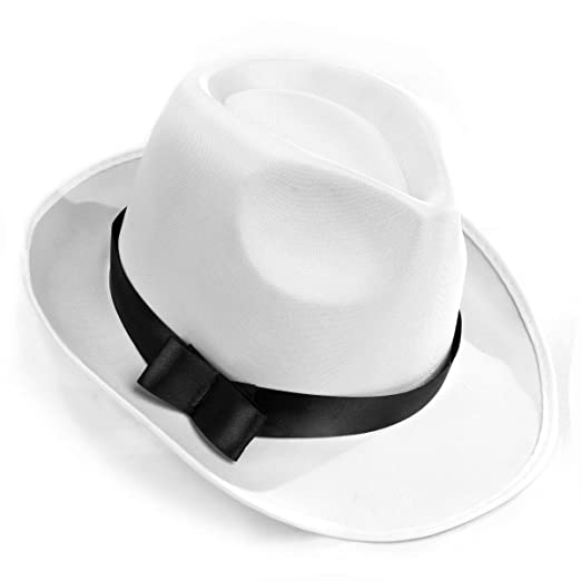 15a0a2f215e Amazon.com  White Gangster Fedora Hat - One Size with Premium Fit Elastic  Band  Clothing