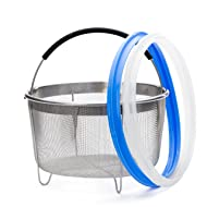 Zoari's Kitchen Steamer Basket 6 Quart for Instant Pot Sealing Ring for 6 Qt, 2 Pack InstaPot Rings 6 qt, Egg Steamer and Strainer with Silicone Handle, compatible with Instant Pot Accessories 6 Qt