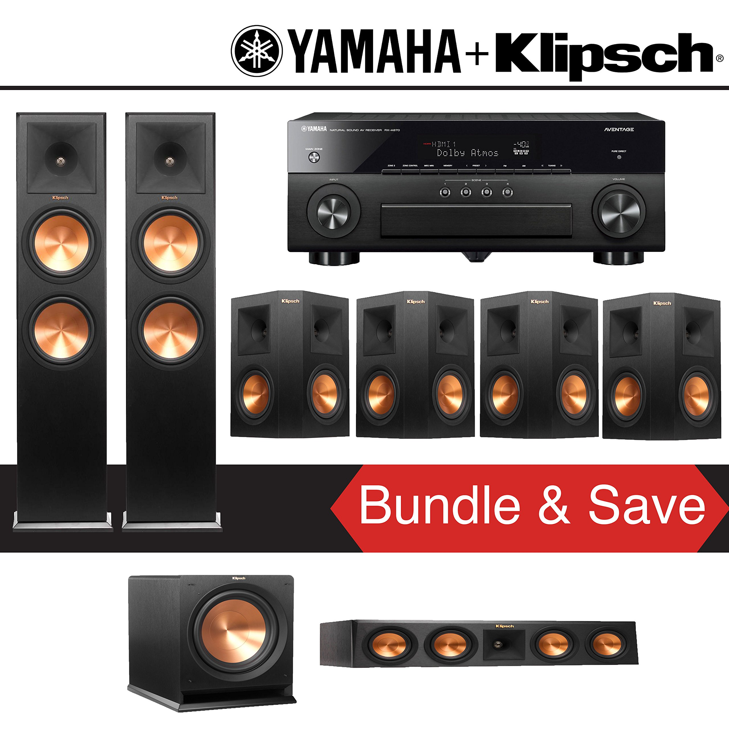Klipsch RP-280F 7.1-Ch Reference Premiere Home Theater System with Yamaha AVENTAGE RX-A870BL 7.2-Channel Network AV Receiver by Klipsch