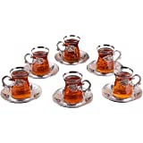 (Set of 6) DEMMEX Turkish Tea Glasses Set with Holders, Saucers, Spoons, 24 Pieces, 4 Oz. (Silver)