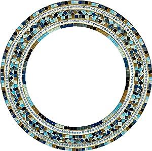"Zorigs Mirror Wall Art Décor – Handcrafted Decorative Wall Mirror, Light Brown, Pastel Green, Light and Navy Blue, Grey, Round Mosaic Mirror, 24"" Frame, Mirror 16"