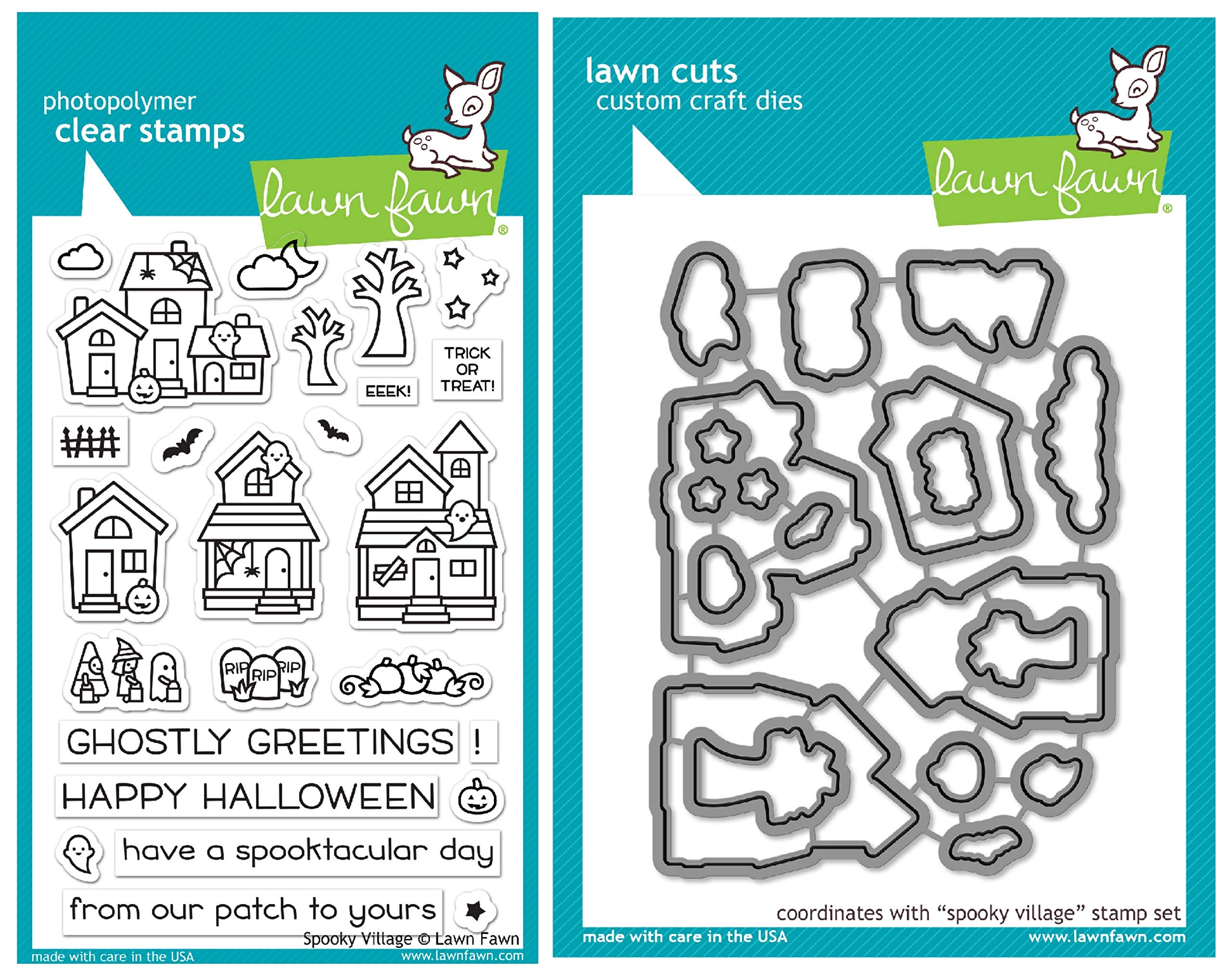 Lawn Fawn Spooky Village Clear Stamps and Coordinating Die Set (LF2014, LF2015), Bundle of 2 Items