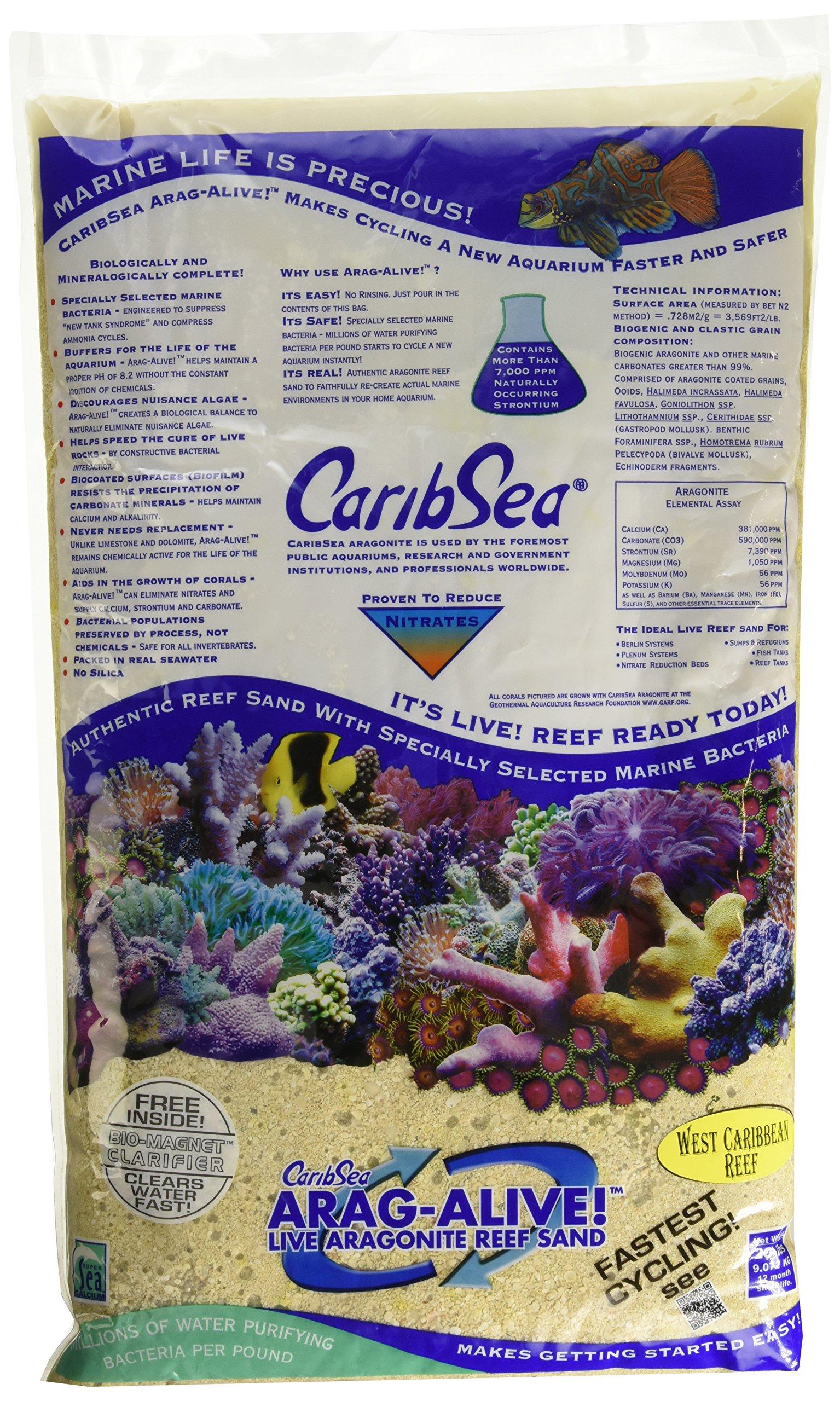 Carib Sea ACS00794 Arag Alive West Caribean Sand for Aquarium, 20-Pound, 2 Per Case by Carib Sea