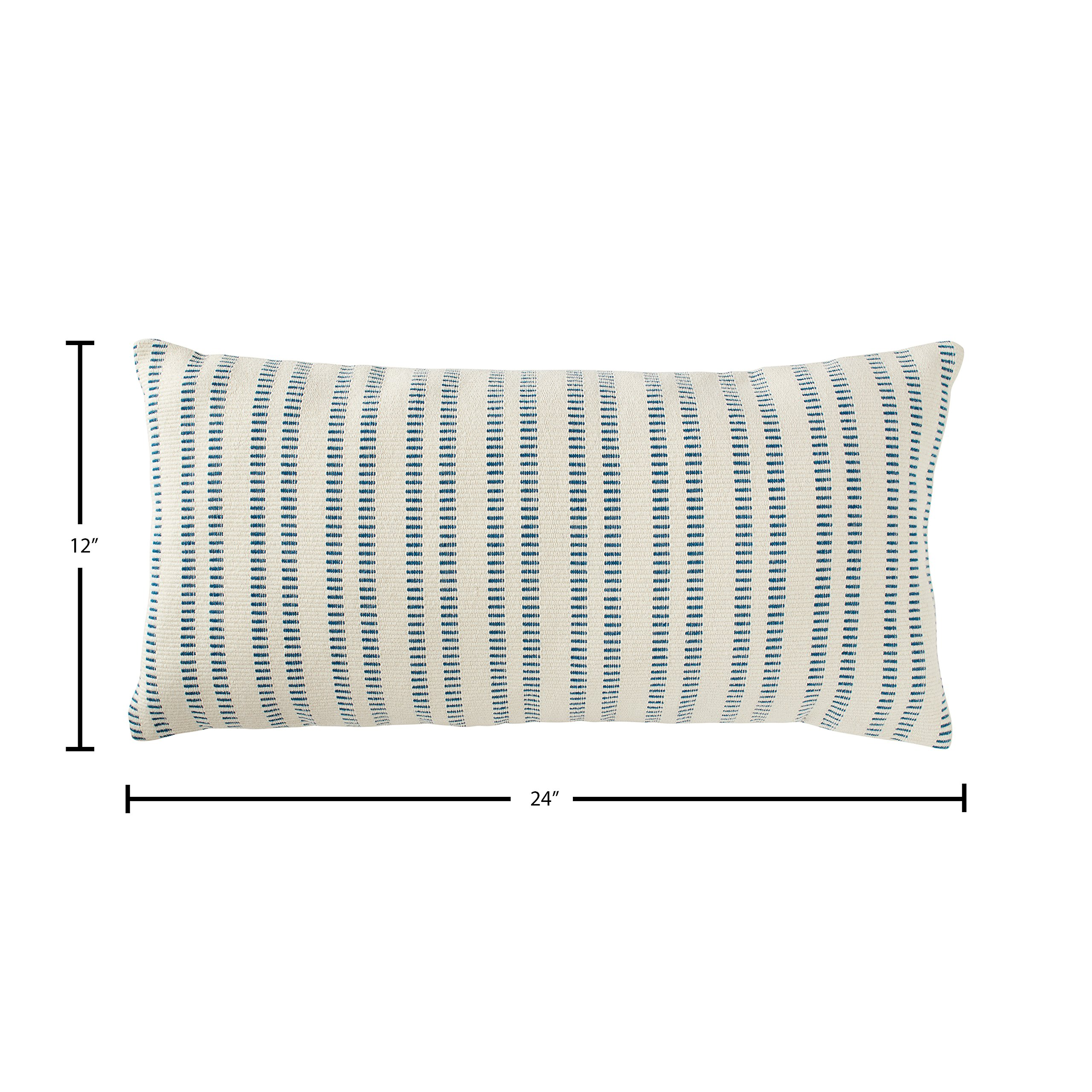 Stone & Beam French Laundry Stripe Pillow, 12'' x 24'', Ivory, Turquoise by Stone & Beam (Image #6)
