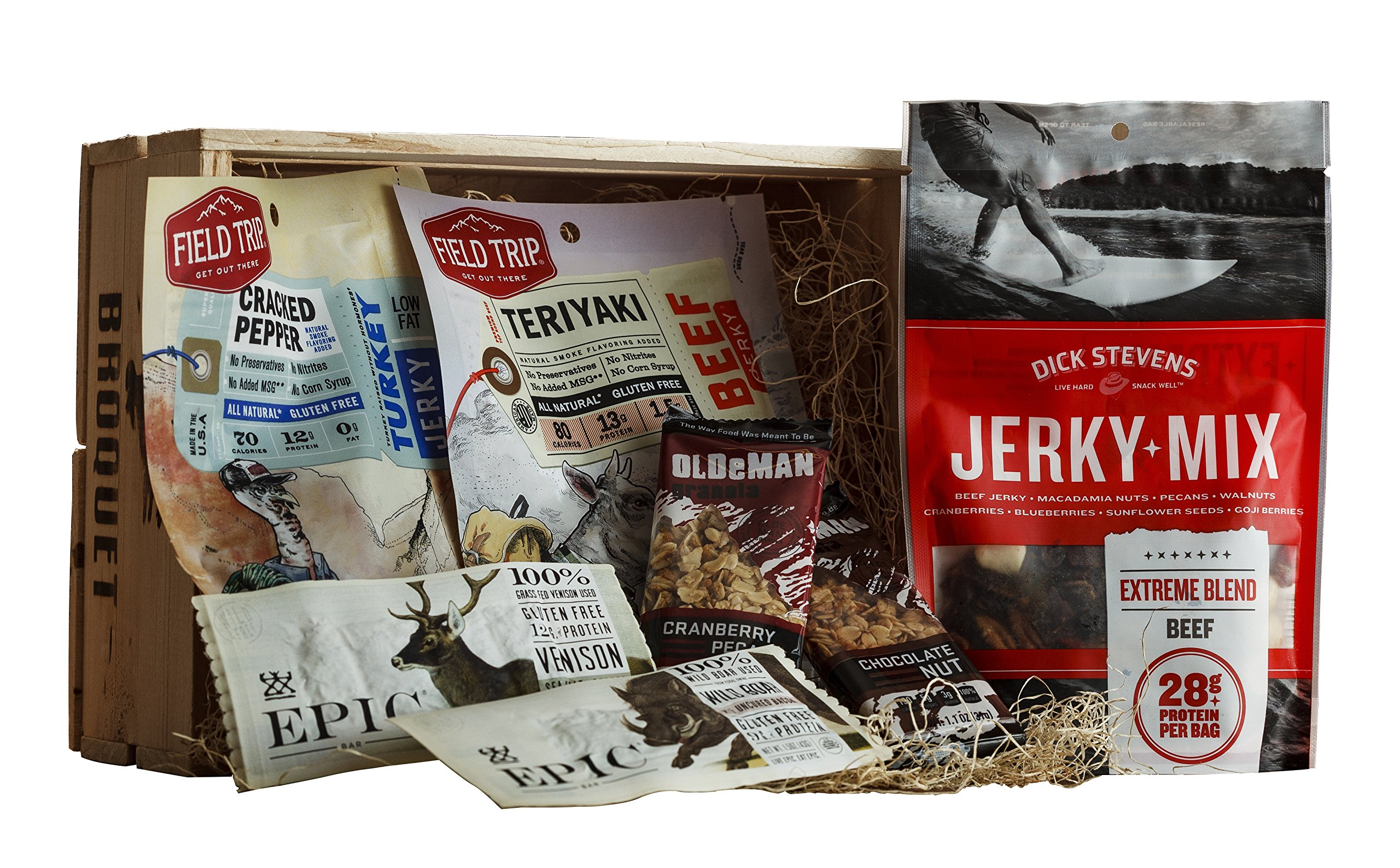 Jerky and Trail Mix Snack Gift (Healthy Snack Gift) - High Protein High Energy Care Package - Comes in a Wooden Gift Crate - Great Gift For Men by Broquet
