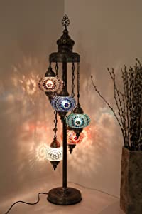 Mosaic 5 Globe Floor Lamps Handmade Unique Turkish Moroccan Night Art Home Decor Light Lampshade Bedside Gift, 5 Bulbs Include
