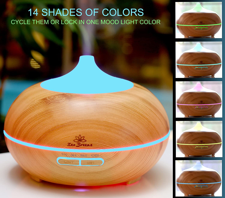 Color zen magazine - Amazon Com Zen Breeze Essential Oil Diffuser 2017 Model Aromatherapy Diffuser 14 Color Night Light Best Wood Grain Housewarming Gift Ideas