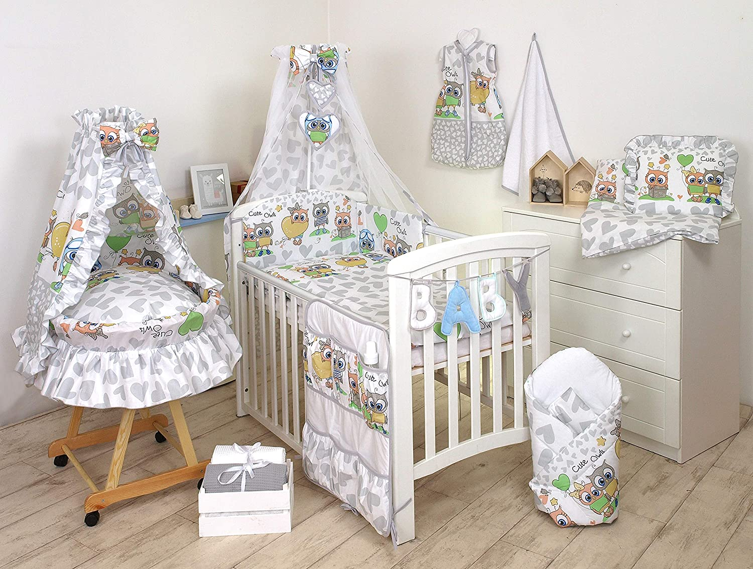 100/% Cotton 3 PCS PRO COSMO Baby Bedding Set to FIT COT /& COT Bed Blue Teddy Bear to fit cot Bed 140x70cm Mattress Size, 8