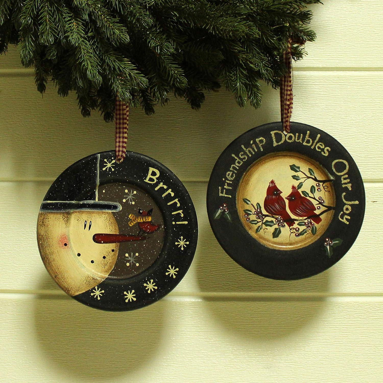Primitives Rustic Homespun Hanging Decorative Plates Christmas Tree//Wall Hanging D/écor Art Boot /& Farmhouse 5-3//4 Inch Set of 2 CVHOMEDECO