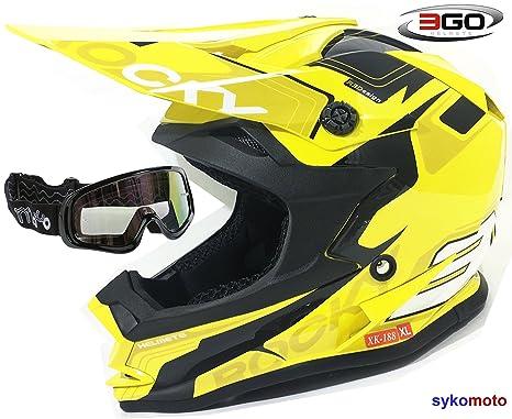 3GO XK188 ROCKY CASCO DE NIÑOS Y NIÑAS MOTOCROSS OFF ROAD ATV QUAD ENDURO AMARILLO CON