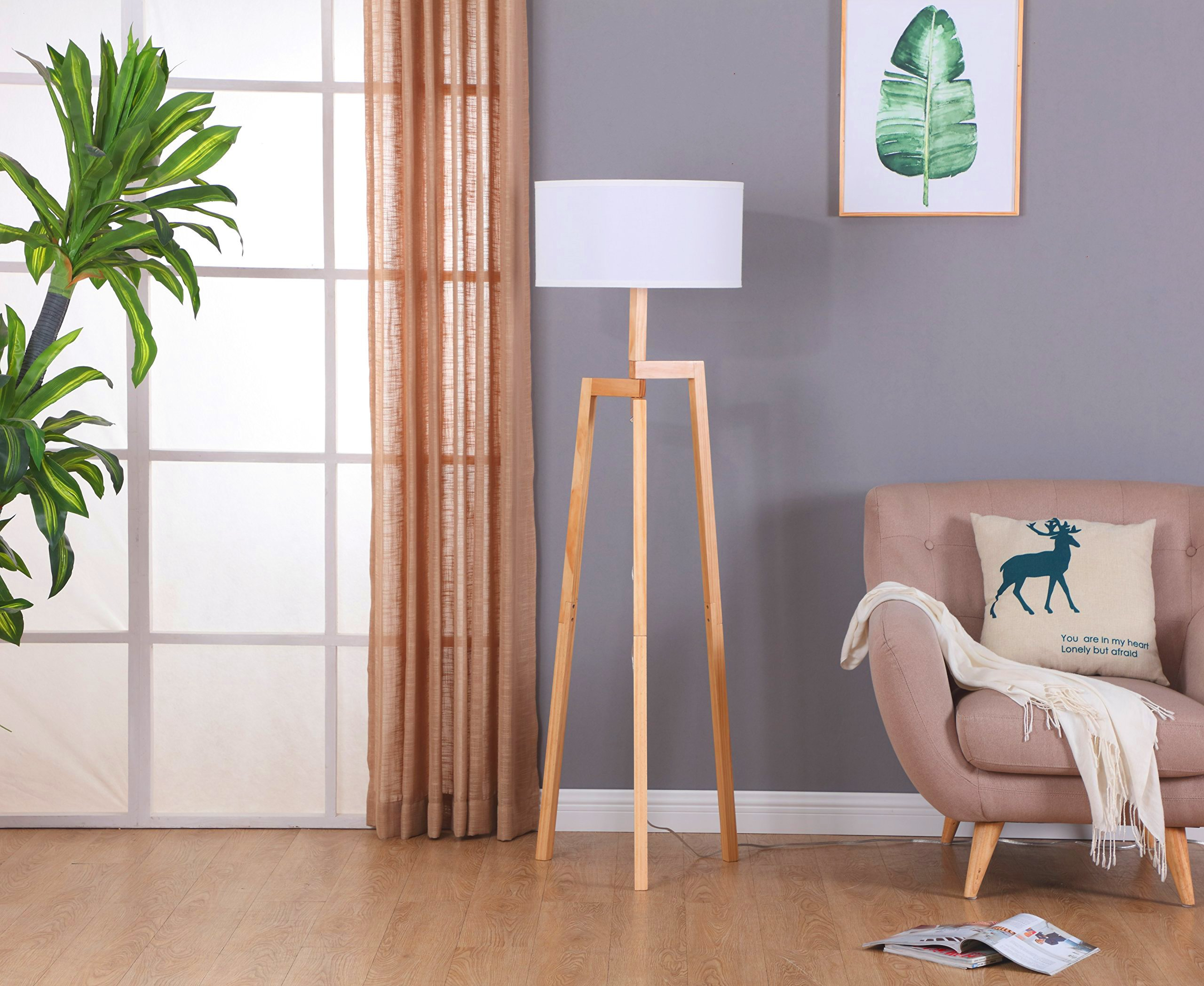 Brightech New Mia LED Tripod Floor Lamp– Modern Design Wood Mid Century Style Lighting for Contemporary Living or Family Rooms- Ambient Light Tall Standing Survey Lamp for Bedroom, Office- White Shade by Brightech (Image #8)
