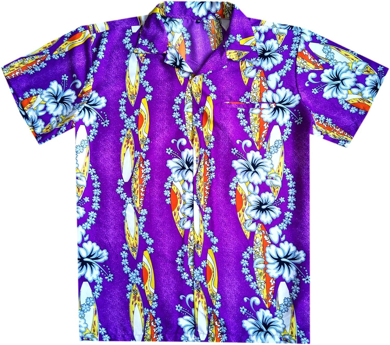 Virgin Crafts Hawaiian T-shirt per Uomo Funky Beach Vacation partito Hibiscus barca blu 5XL