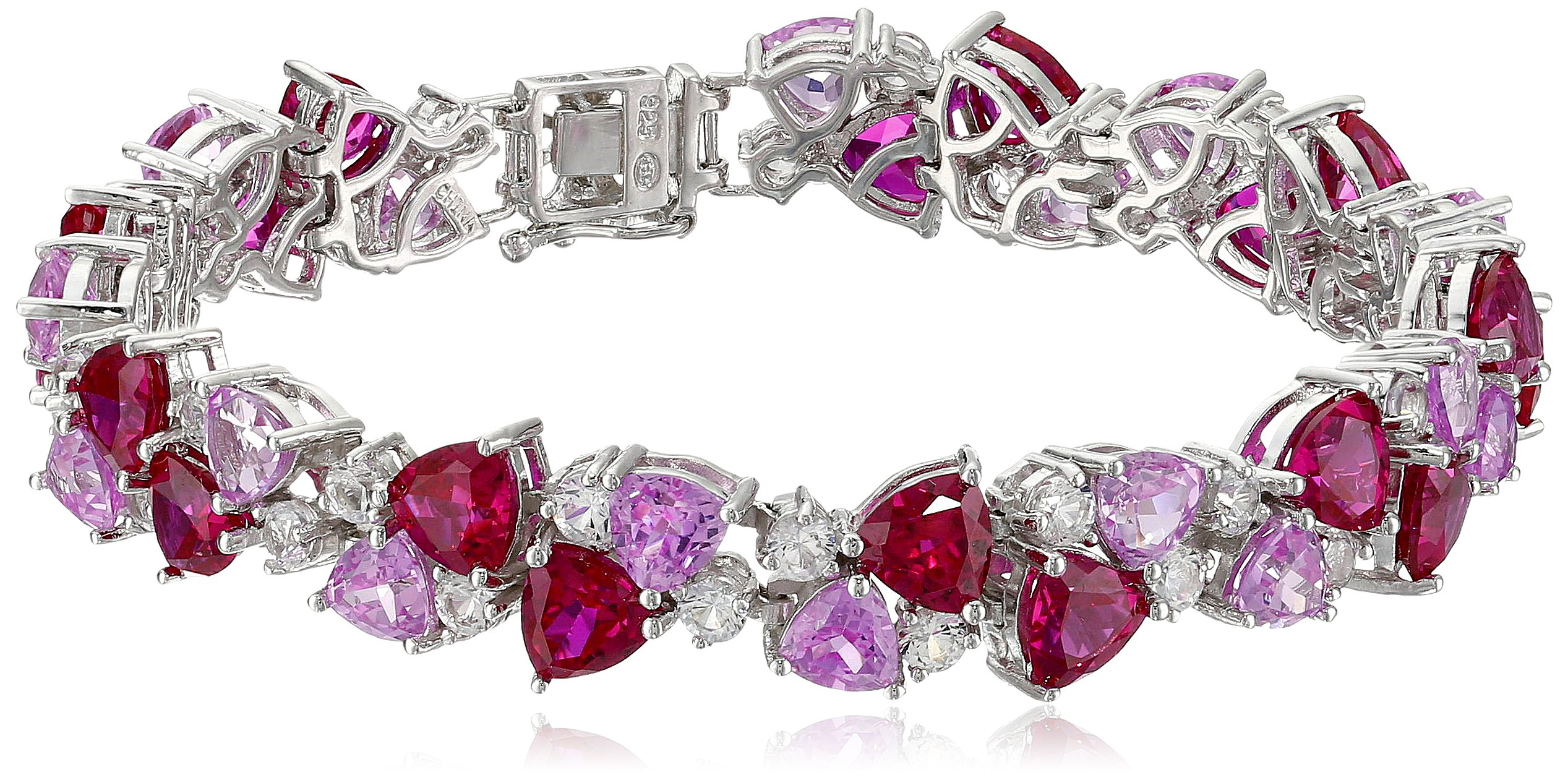 Sterling Silver Created Ruby, Pink Sapphire, and White Sapphire Bracelet, 7.25''