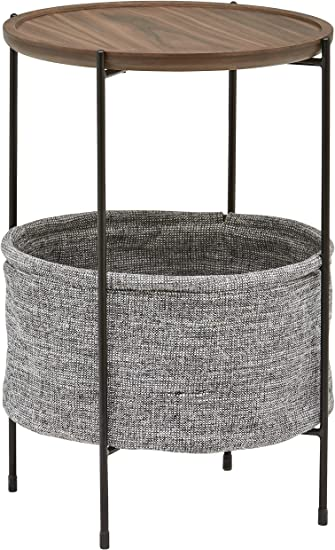 Amazon Com Amazon Brand Rivet Meeks Round Side Table With Fabric Storage Basket 24 H Walnut And Grey Furniture Decor