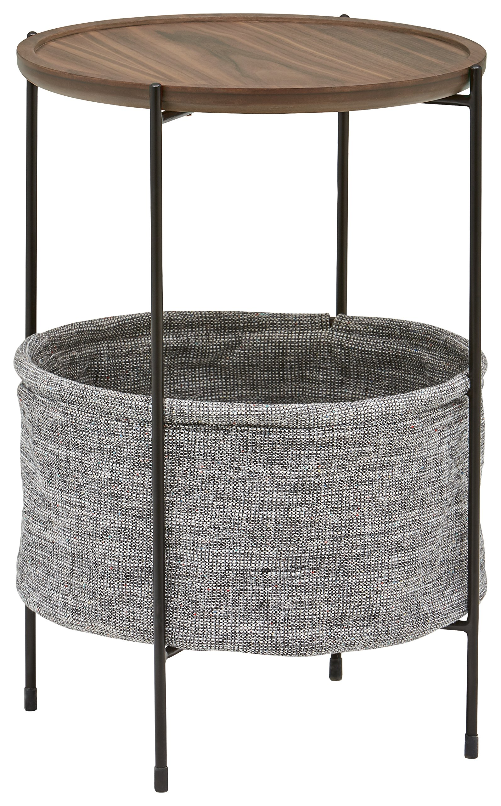 Rivet Round Storage Basket Side Table - Meeks, Walnut and Grey Fabric by Rivet