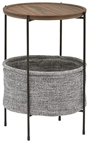 Rivet Round Storage Basket Side Table Meeks, Walnut and Grey Fabric