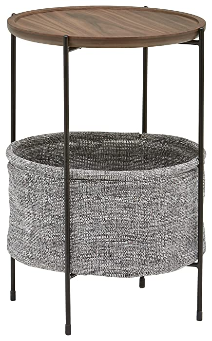 Rivet Meeks Round Storage Basket Side Table, Walnut and Grey Fabric