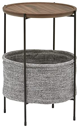 Rivet Meeks Round Storage Basket Side Table, Walnut with Grey Fabric