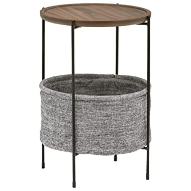 Rivet Round Storage Basket Side Table – Meeks, Walnut and Grey Fabric