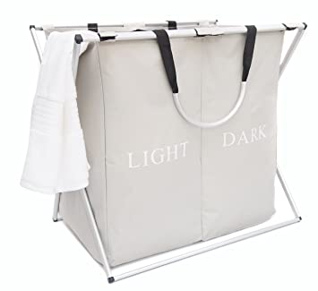 Ace Ideals Bag (2 Boxes) Light And Dark, Folding Laundry Organiser Basket Bin Hamper Washing Clothes Storage Pieces   Grey   Metal Handles by Ace Ideals