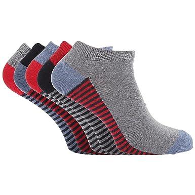 Soho Collection - Calcetines tobilleros multicolor con suela a rayas para hombre (paquete de 5