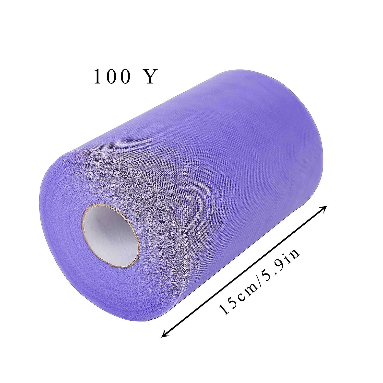 QIMEI-SHOP Rollos de Tul 15cm x 91m Bobina de Tul para Tut/ú Falda Boda Cumplea/ños Fiesta Manualidades DIY