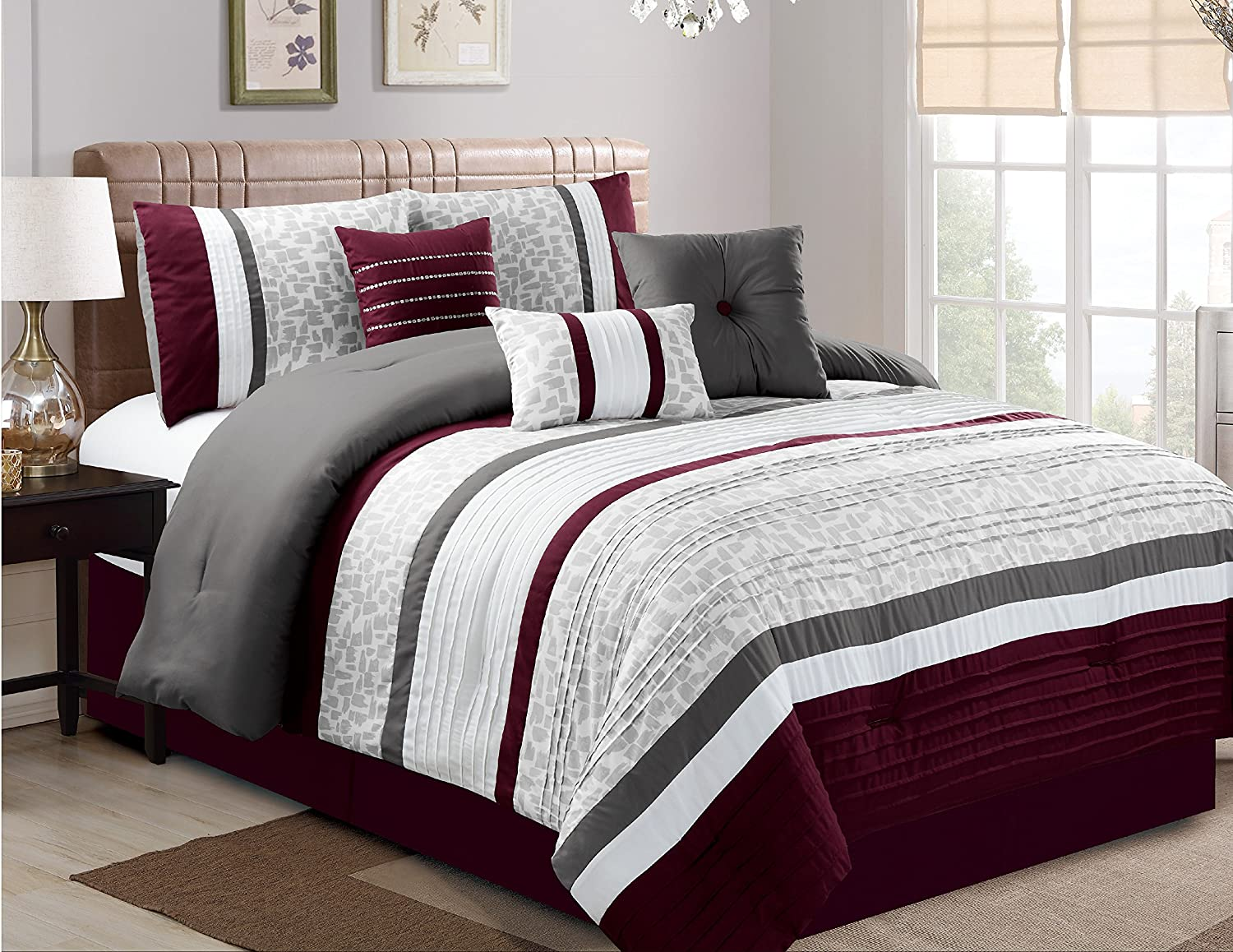 Amazoncom Luxlen 7 Piece Luxury Bedding Set California King
