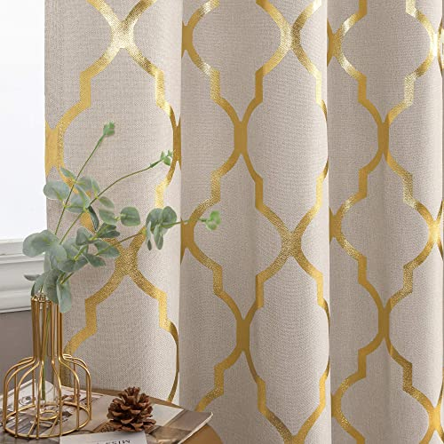 jinchan Moroccan Tile Print Linen Textured Panels for Bedroom Grommet Top Flax Linen Look Curtain Textured Window Treatment Set for Living Room 95 inch Gold on Flax