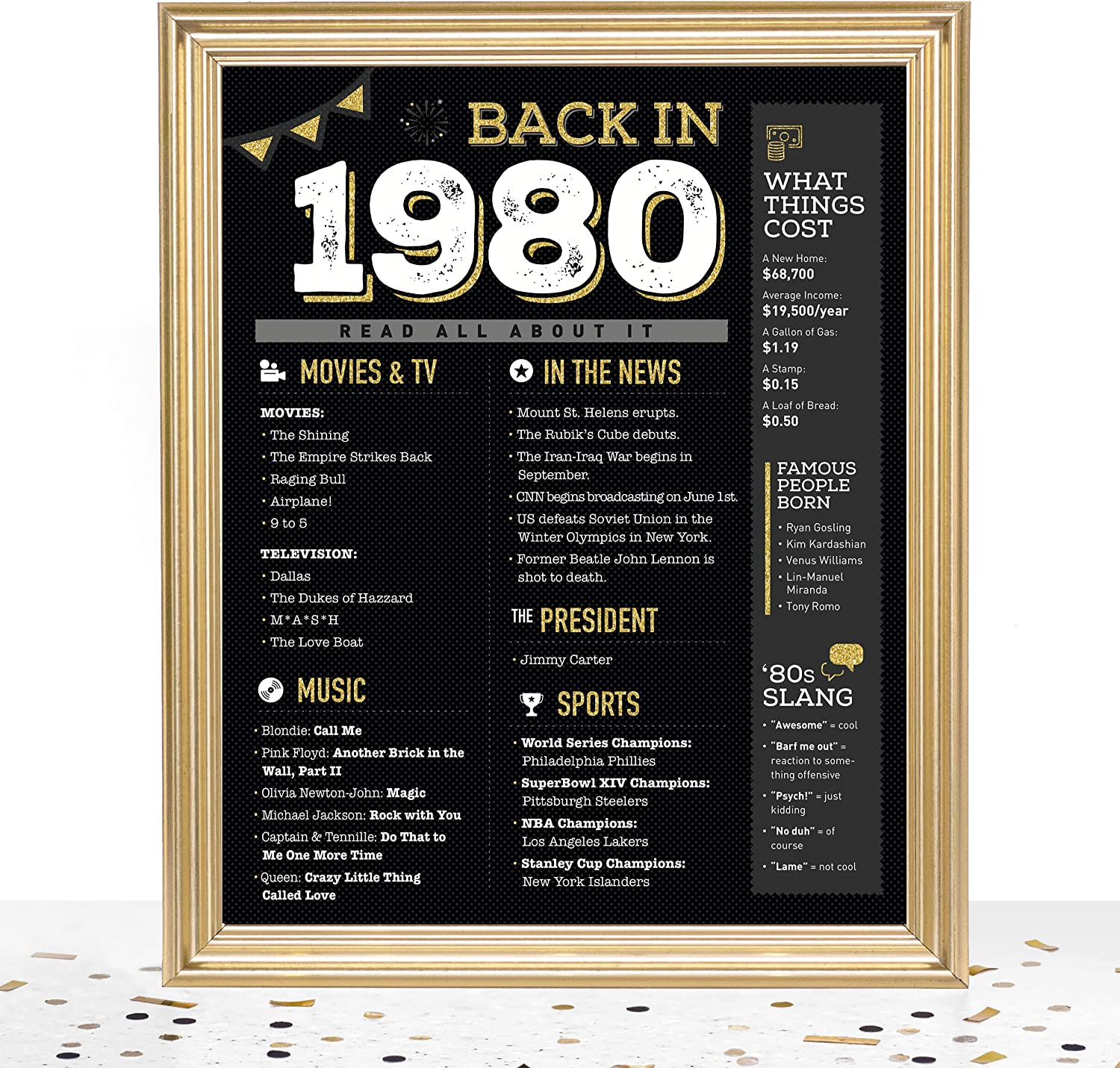 GoodSite Brands 40th Birthday Decorations Anniversary Centerpiece Gifts for Women Men   8x10 Back In 1980 Sign/Poster Unframed   Perfect Party Table Decor, Black/Gold with Fun Vintage Look