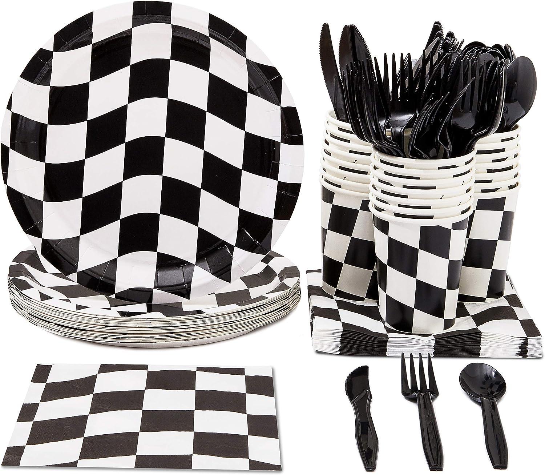 Vajilla desechable, con cubiertos de plástico: cuchillos, cucharas, tenedores, platos de papel, servilletas, vasos, para 24 personas, temática de coches de carreras, con bandera de cuadros