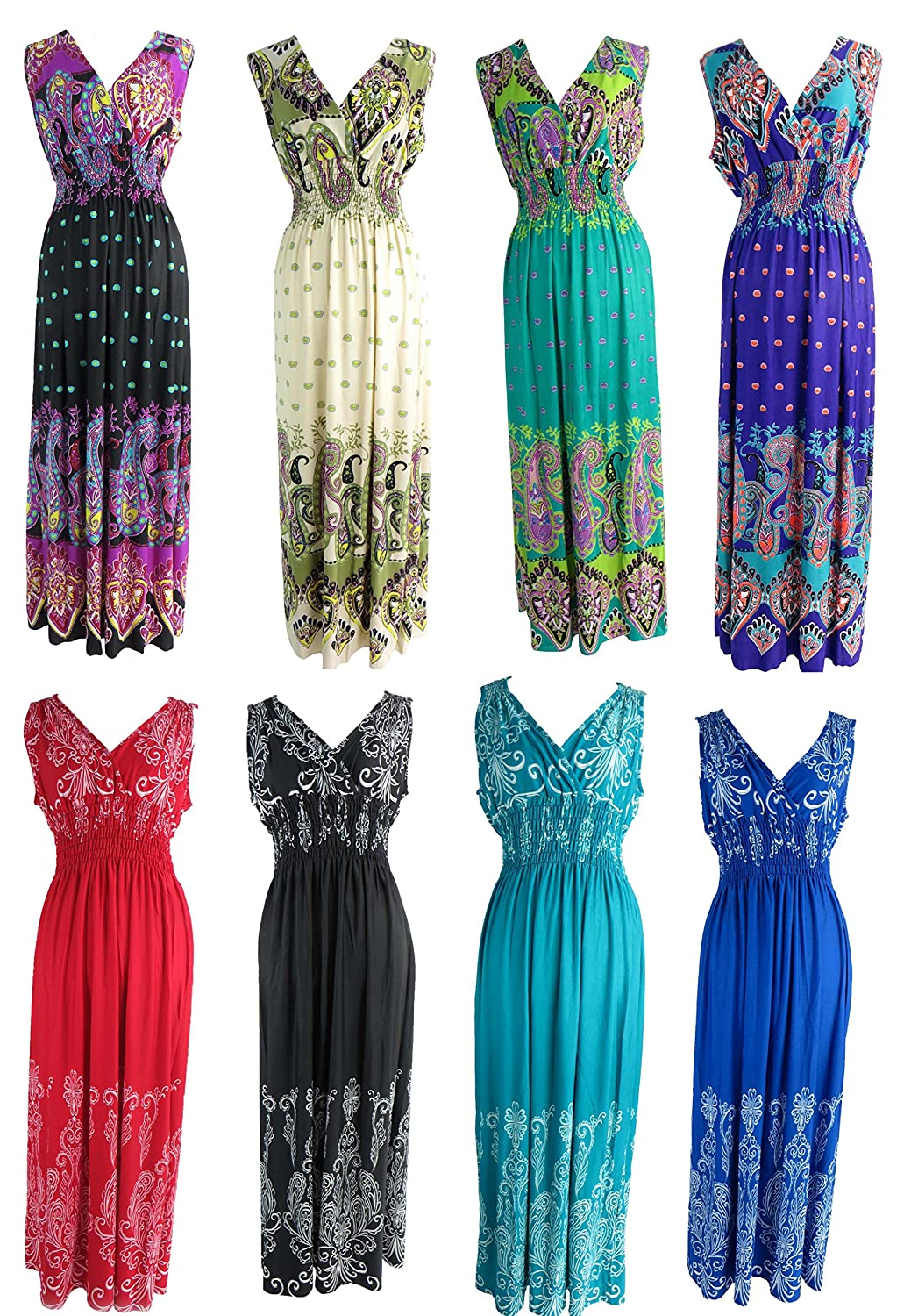 wholesale lot of 8 long dress / maxi sundress / beach dress / vacation dress