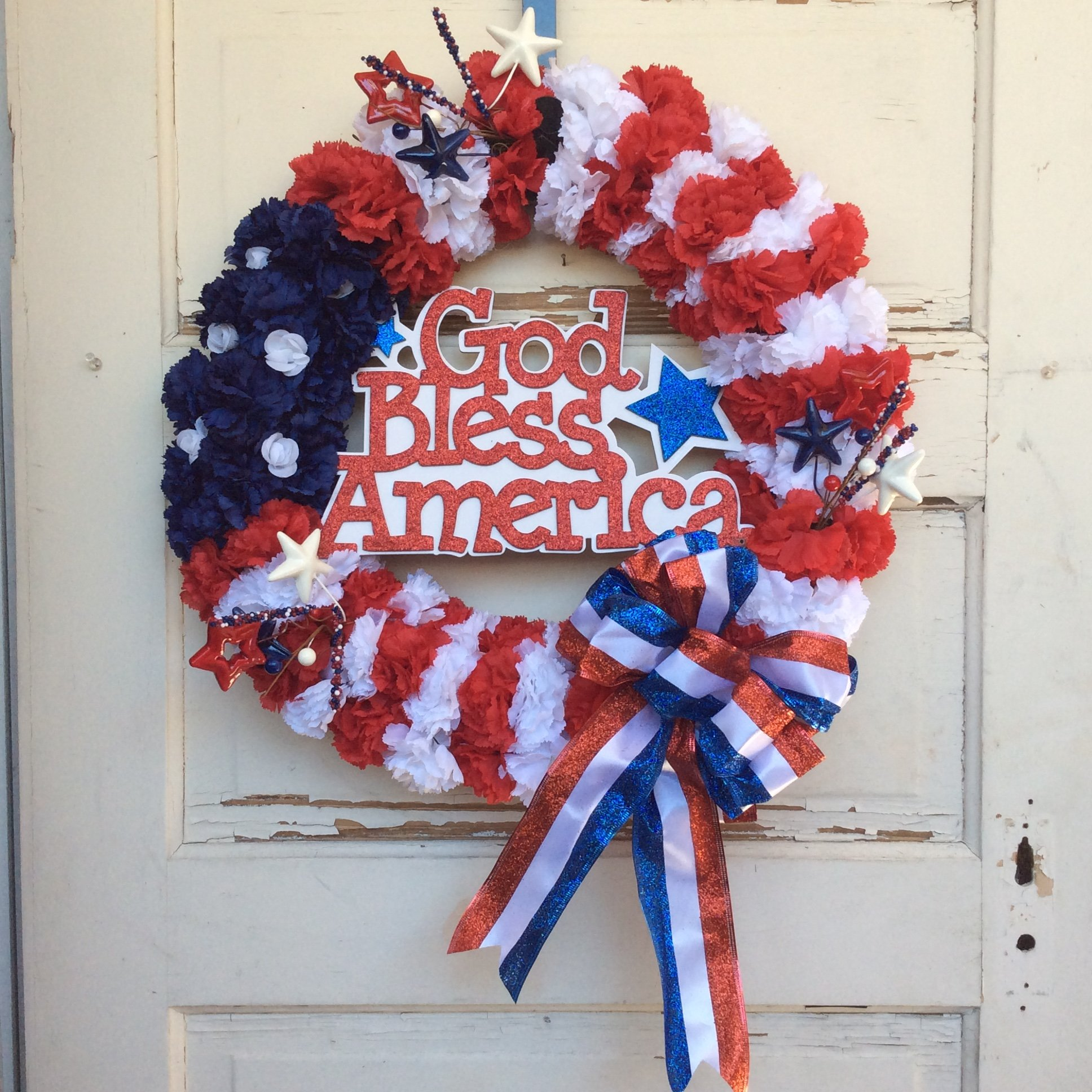 AG Designs Patriotic Decor – God Bless America Carnation Wreath
