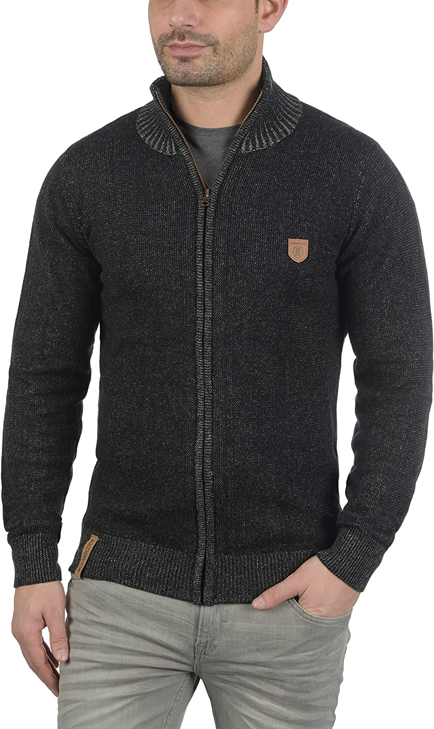 Indicode Andy Mens Cardigan Knit Jacket With Funnel Neck With Zipper