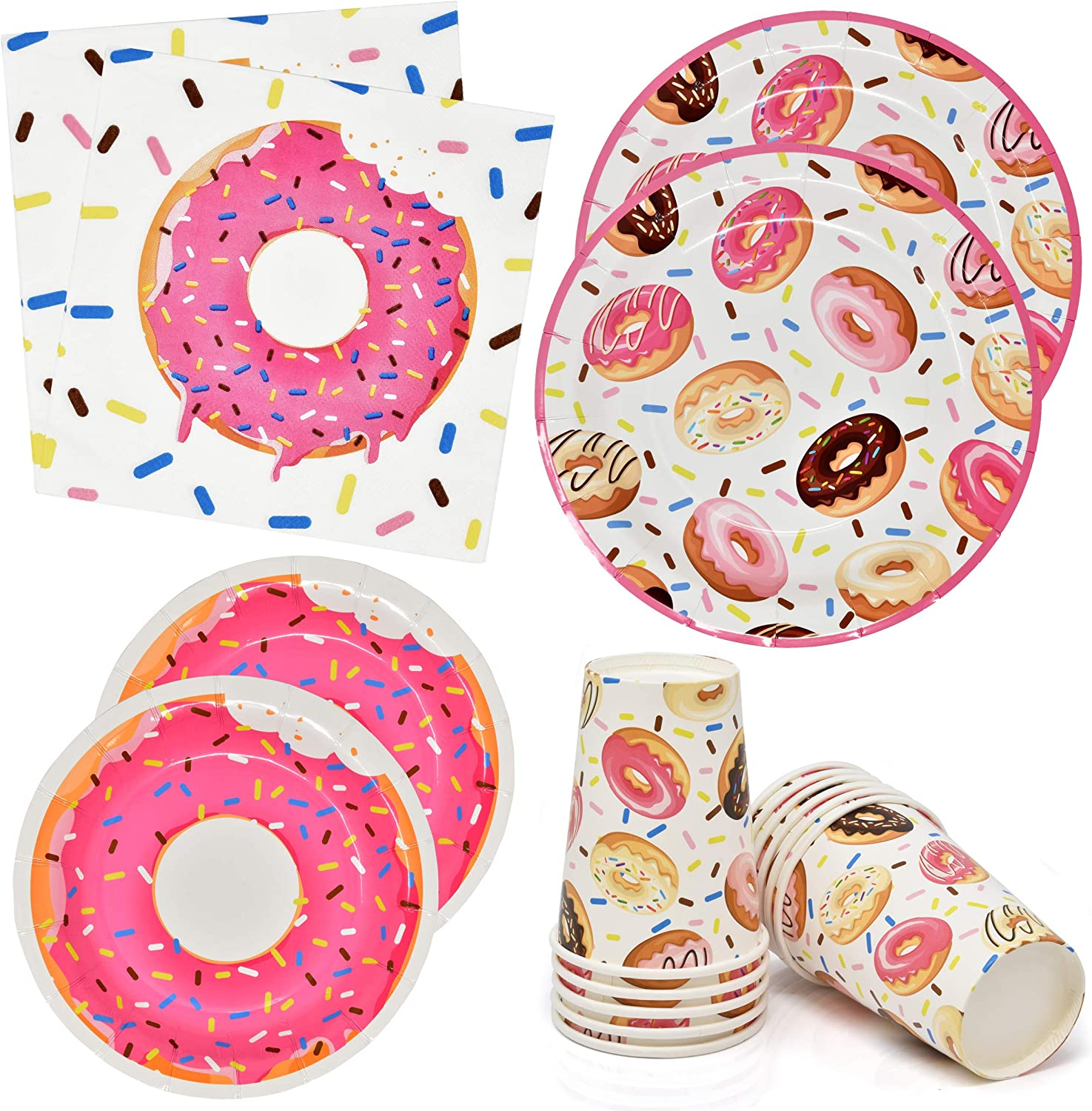 Donut Print Disposable Plates, Cups and Napkins