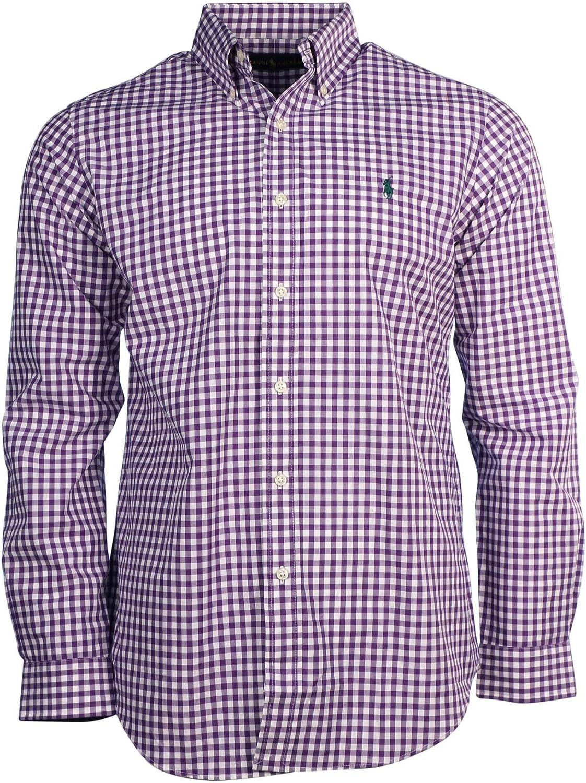 Ralph Lauren Polo Hombre L/S Gingham Poplin Camisa-púrpura/Blanco ...