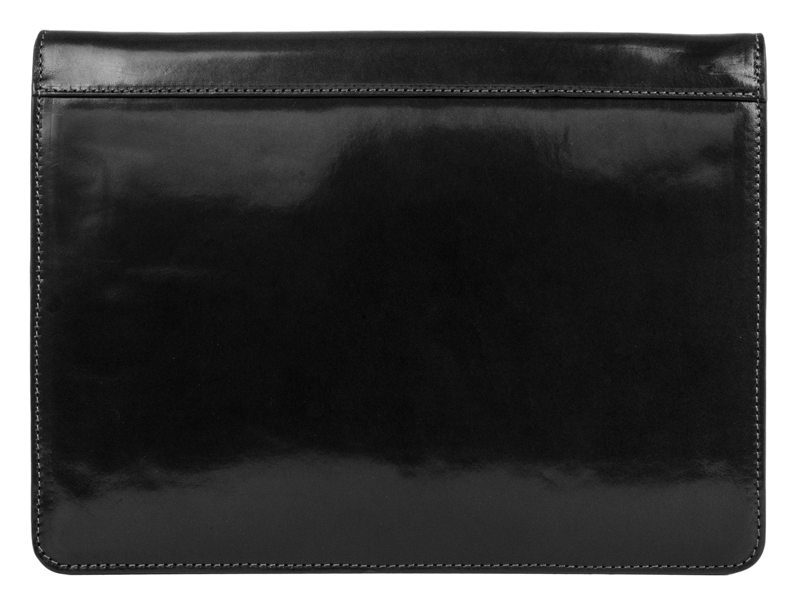 Leather Document Folder, Black Leather Portfolio, Leather Organizer, Document Holder - Time Resistance